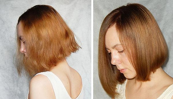 Волосы до и после домашнего экранирования