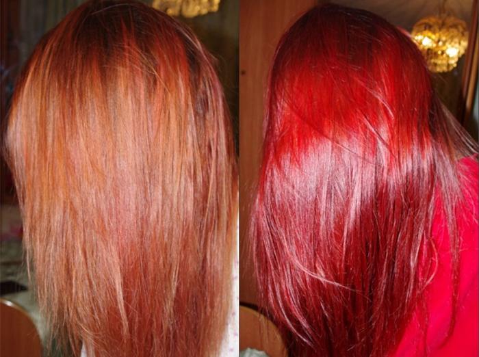 Ярко-красный цвет волос после окрашивания тоником