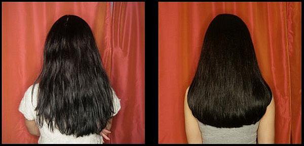 Состояние волос до и после экранирования