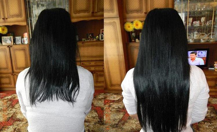 Результат наращивания волос на трессах