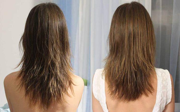 Результат стрижки волос горячими ножницами