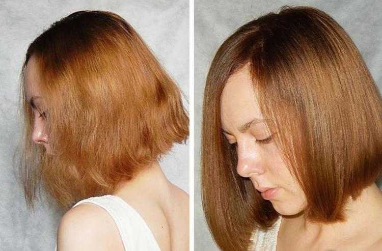 Результат домашнего ламинирования волос желатином