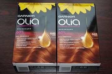 Упаковки краски Олиа - оттенок 6.43