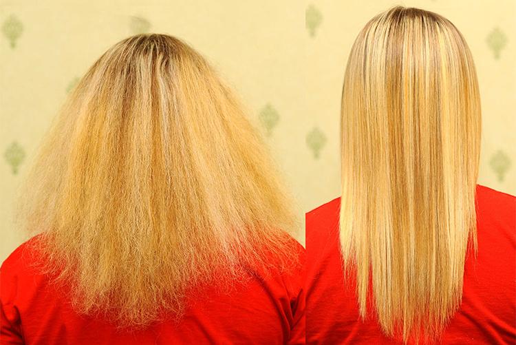 Результат восстановления и выпрямления волос кератином