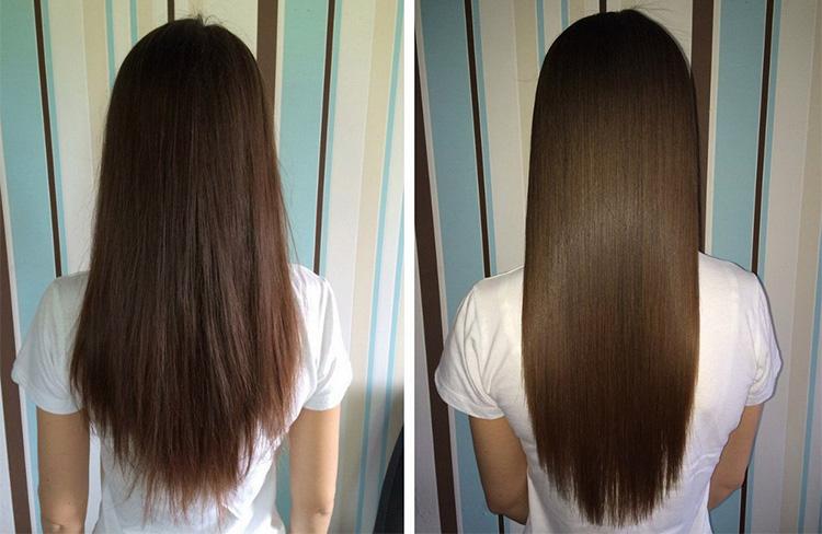 Волосы до и после капсульного наращивания