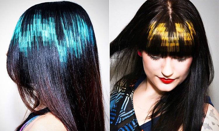 Пиксельное колорирование на темные волосы - фото 2015