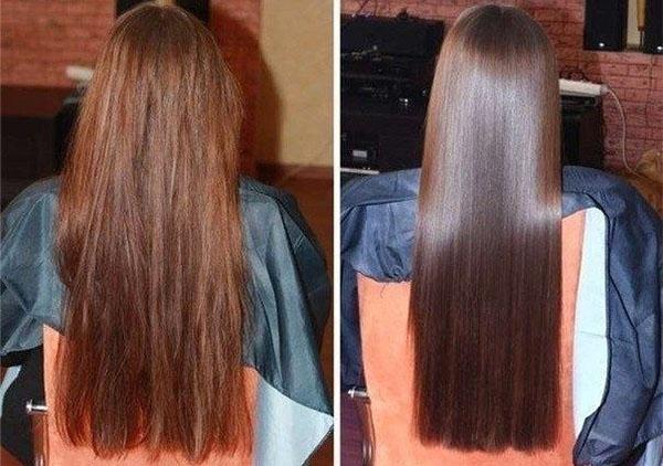 Волосы до и после применения масок на касторке