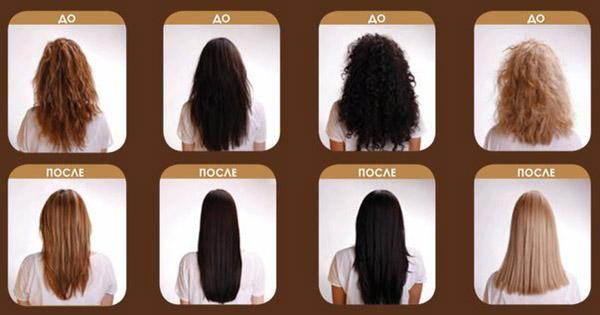Результаты кератинового выравнивания волос
