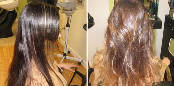 Мелирование на темные волосы до и после