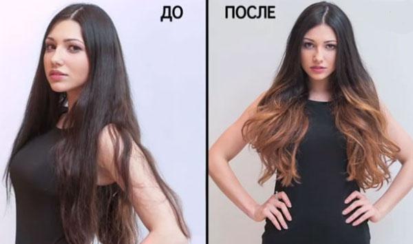 Омбре до и после
