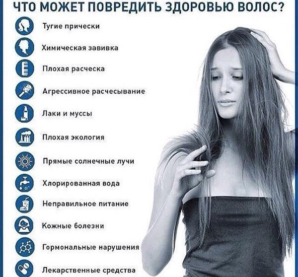 Вредные факторы для здоровья волос