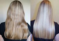 Волосы до и после выпрямления кератином