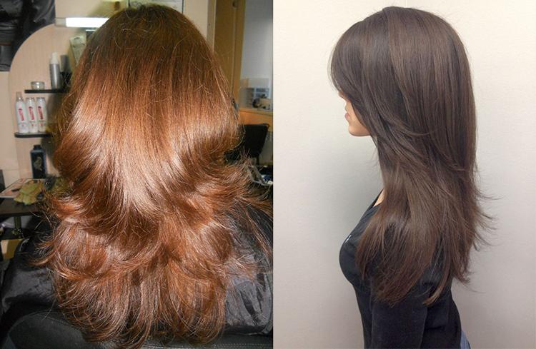 Каскад на длинные волосы фото сзади