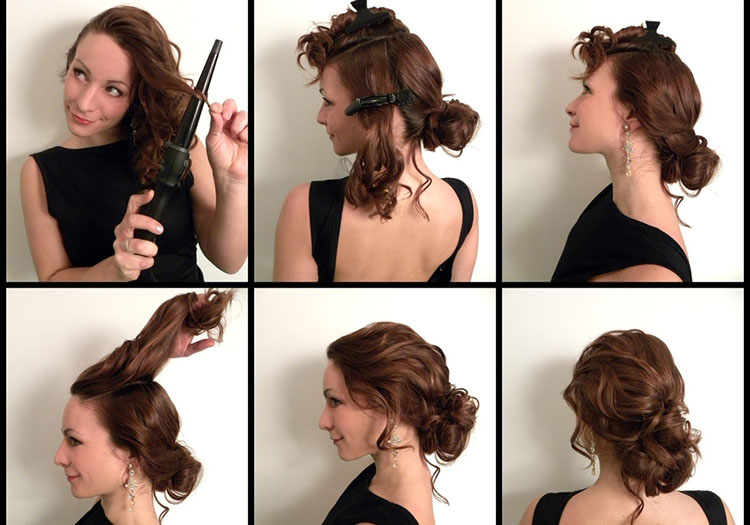 Пучок на волосы средней длины